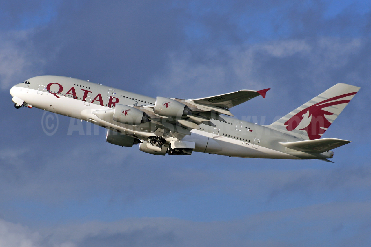 The first Qatar A380 departure from London Heathrow
