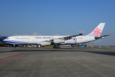 China Airlines Airbus A340-313X B-18806 (msn 433) (The Official Airline for Climate Monitoring) AMS (Ton Jochems). Image: 921256.