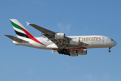 Emirates Airline Airbus A380-861 A6-EDZ (msn 107) (Expo 2020 Dubai UAE) DXB (Paul Denton). Image: 912060.