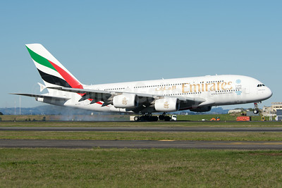 Emirates Airline Airbus A380-861 A6-EDE (msn 017) (Expo 2020 Dubai UAE) AKL (Colin Hunter). Image: 923814.