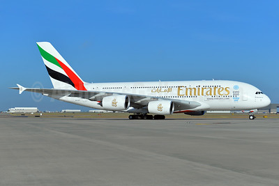 Emirates Airline Airbus A380-861 A6-EEV (msn 150) (Expo 2020 Dubai UAE) DFW (Brian Peters). Image: 924820.