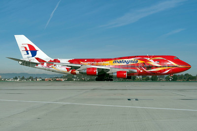 Malaysia Airlines Boeing 747-4H6 9M-MPD (msn 25701) (red hibiscus) LAX (Roy Lock). Image: 920539.