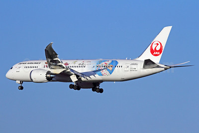 JAL-Japan Airlines Boeing 787-8 Dreamliner JA828J (msn 38438) (Sora wo Tobu - Flying Sky) NRT (Michael B. Ing). Image: 910292.