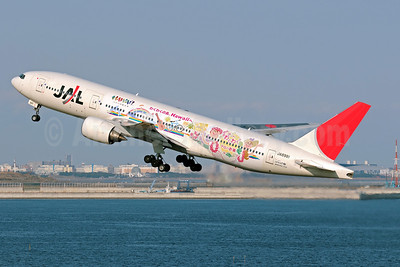 JAL-Japan Airlines Boeing 777-246 JA8981 (msn 27364) (Hawaii-Waku Waku Aloha Jet) HND (Akira Uekawa). Image: 912054.