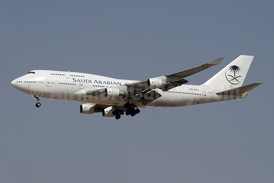 Saudi Arabian Airlines-Orient Thai Airlines Boeing 747-412 HS-STC (msn 26548) DXB (Paul Denton). Image: 909632.