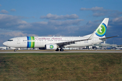 Caribbean Airlines Boeing 737-8K2 WL PH-HZN (msn 32943) (Transavia Airlines colors) YYZ (TMK Photography). Image: 901406.