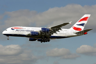 British Airways Airbus A380-841 G-XLEB (msn 121) LHR (Antony J. Best). Image: 913650.