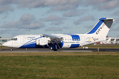 CityJet BAe RJ85 EI-RJX (msn E2372) (Leinster Rugby - Bank of Ireland) DUB (Greenwing). Image: 909669.