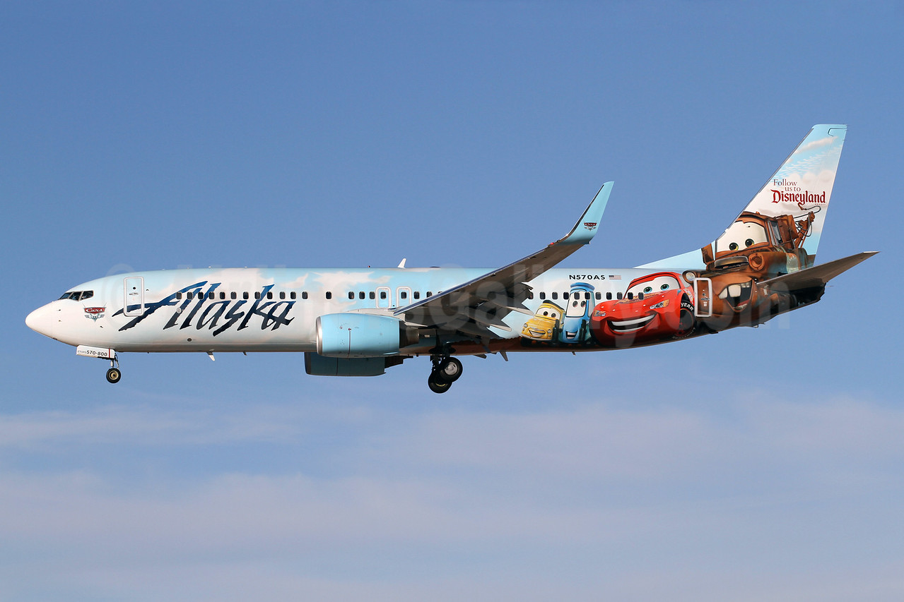 Alaska Airlines Boeing 737-890 WL N570AS (msn 35185) (Follow us to Disneyland Resort - Disney Cars) LAX (James Helbock). Image: 921270.