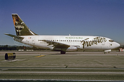Frontier Airlines (2nd) Boeing 737-2Y5 N921WA (msn 23039) (Raccoon) LAX (Roy Lock). Image: 910594.