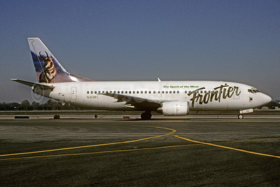 Frontier Airlines (2nd) Boeing 737-3U3 N308FL (msn 28738) (Pronghorn) LAX (Roy Lock). Image: 910590.