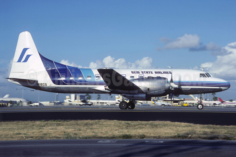 Gem State Airlines Convair 580 N116GS (msn 2) LAX (Jacques Guillem). Image: 913600.
