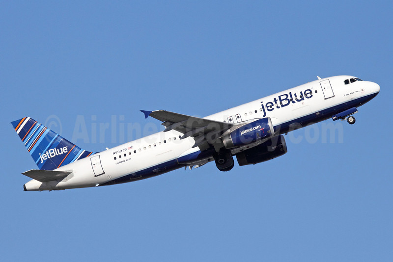 JetBlue Airways Airbus A320-232 N599JB (msn 2336) (Barcode) SEA (Michael B. Ing). Image: 913501.