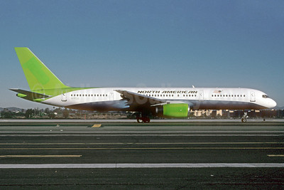 North American Airlines Boeing 757-28A G-FCLI (msn 26275) (JMC Air colors) LAX (Roy Lock). Image: 911918.