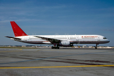 Northwest Airlines Boeing 757-2S7 N602RC (msn 23322) (Republic Airlines colors) MIA (Bruce Drum). Image: 103162.