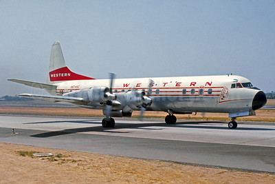Western Airlines Lockheed 188A Electra N9745C (msn 1143) LAX (Jacques Guillem Collection). Image: 911821.