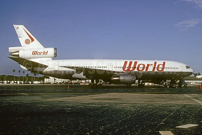 World Airways McDonnell Douglas DC-10-10 N102UA (msn 46905) (experimental colors) MIA (Bruce Drum). Image: 103476.
