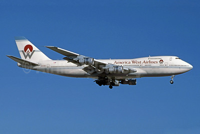 America West Airlines Boeing 747-206B N533AW (msn 19924) PHX (Jay Selman). Image: 402002.