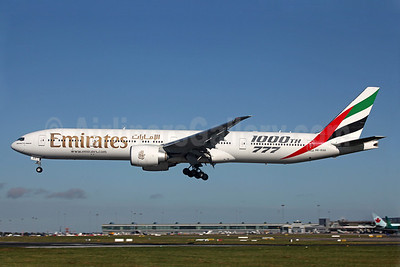 Emirates Airline Boeing 777-31H ER A6-EGO (msn 35598) (1000th 777) DUB (Greenwing). Image: 909479.