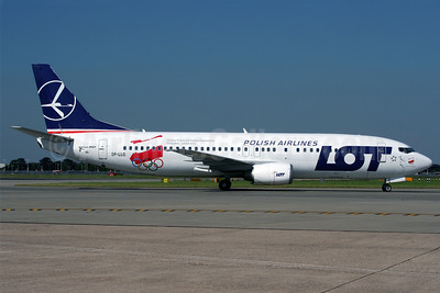 LOT Polish Airlines Boeing 737-45D SP-LLG (msn 28753) (2012 London Olympics) LHR (Wingnut). Image: 909010.