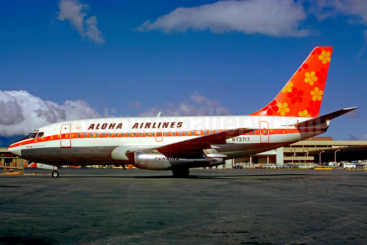 Aloha Airlines Boeing 737-159 N73717 (msn 19680) (Funbird) HNL (Jacques Guillem Collection). Image: 904938.