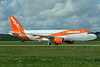 Ground view of easyJet's new 250th Airbus A320 logo jet
