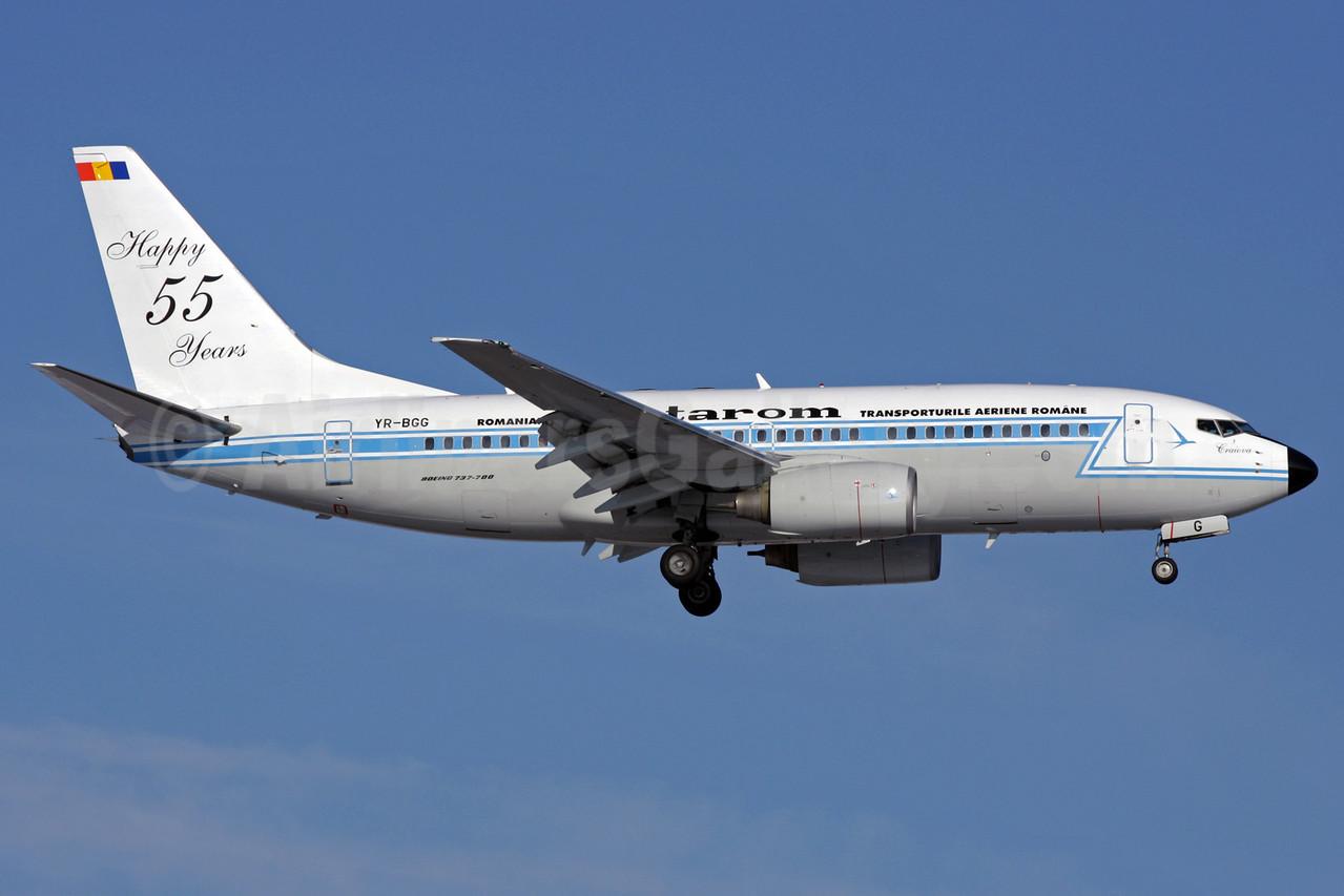 TAROM-Transporturile Aeriene Romane (Romanian Air Transport) Boeing 737-78J YR-BGG (msn 28442) (Happy 55 Years) LHR (Antony J. Best). Image: 901914.