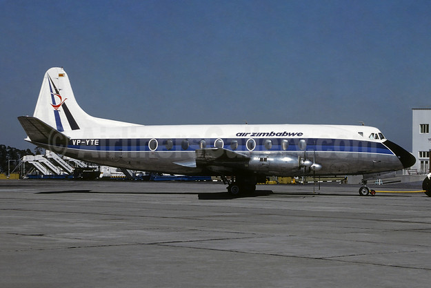 Air Zimbabwe Vickers Viscount 754D VP-YTE (msn 241) (Air Rhodesia colors) HRE (Jacques Guillem Collection). Image: 954619.