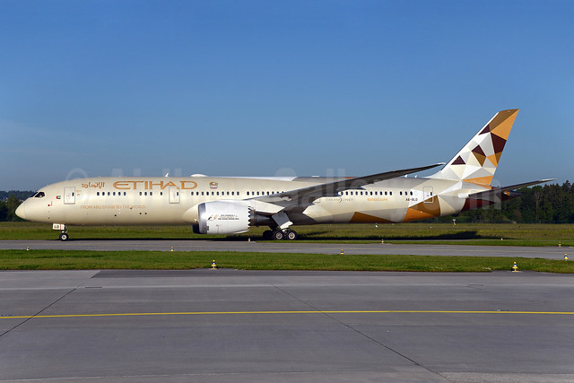 Etihad Airways Boeing 787-9 Dreamliner A6-BLD (msn 39649) ZRH (Rolf Wallner). Image: 933100.