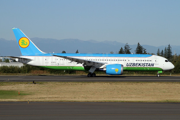 The first Boeing 787-8 Dreamliner for Uzbekistan Airways