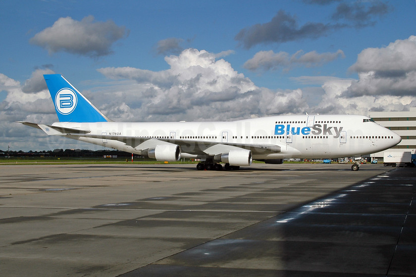 Blue Sky (Blue Airways) Boeing 747-422 N176UA (EK-74783) (msn 24383) AMS (Ton Jochems). Image: 953333.