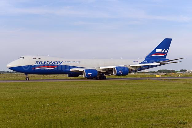 Silkway Azerbaijan Cargo (Silkway West Airlines) Boeing 747-83QF VQ-BVB (msn 44444) AMS (Ton Jochems). Image: 943624.