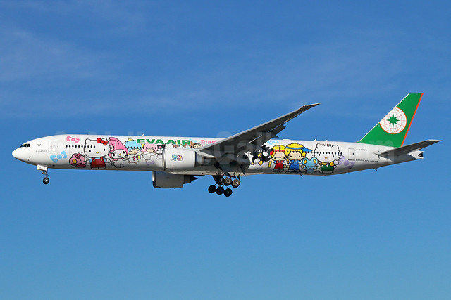 EVA Air Boeing 777-35E ER B-16703 (msn 32643) (Hello Kitty - Sanrio Family) LAX (Michael B. Ing). Image: 920984.