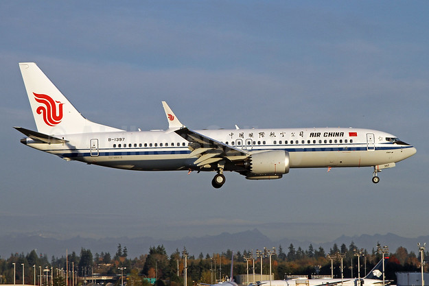 Air China's first Boeing 737-8 MAX 8, delivered on November 3, 2017