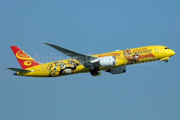 "The yellow ""Kung Fu Panda"" Boeing 787-9 Dreamliner (third in a series)"