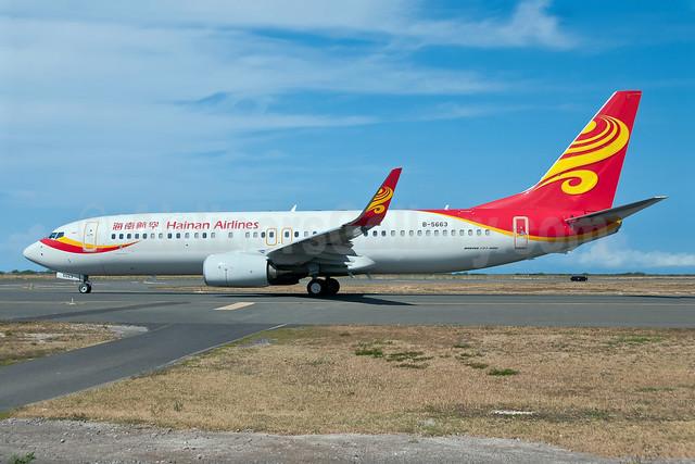 Hainan Airlines Boeing 737-84P WL B-5663 (msn 38154) HNL (Ivan K. Nishimura). Image: 908629.