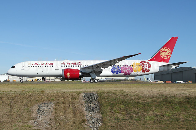 Juneyao Air's first 787, in special Peony livery