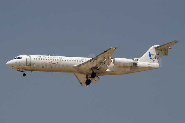 Naft Airlines Fokker F.28 Mk. 0100 EP-MIS (msn 11503) DXB (Paul Denton). Image: 940409.