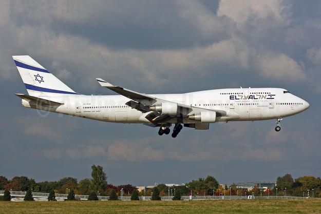 El Al Israel Airlines Boeing 747-412 4X-ELE (msn 26551) LHR (SPA). Image: 944783.