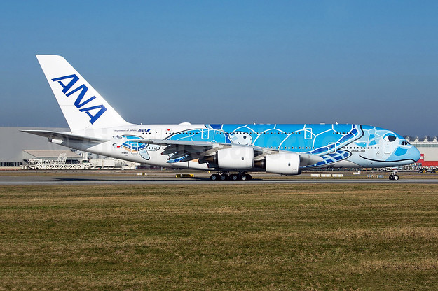 ANA's first Airbus A380 on first flight, in Lani livery, became JA381A