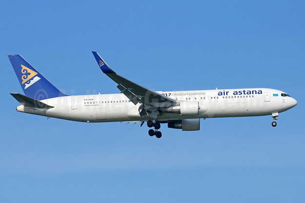 Air Astana Boeing 767-3KY ER WL P4-KEB (msn 42221) (Expo 2017 Astana Kazakhstan) BKK (Michael B. Ing). Image: 937625.