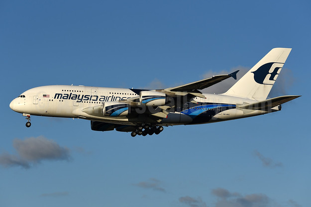 Malaysia Airlines Airbus A380-841 9M-MNC (msn 084) LHR (Rolf Wallner). Image: 942665.