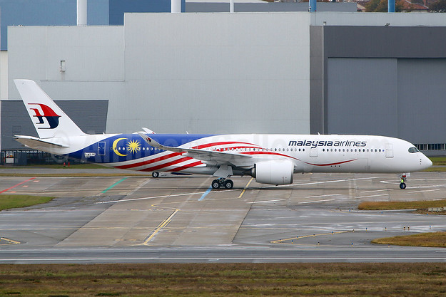 "Malaysia's second A350, painted in the 2017 ""Negaraku"" flag livery"