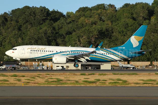 Oman Air Boeing 737-8 MAX 8 A40-MK (msn 43305) BFI (Nick Dean). Image: 954684.