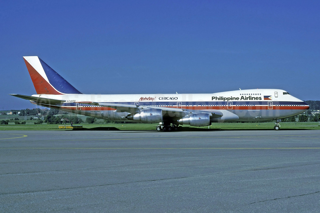 Philippine Airlines Boeing 747-2F6B N741PR (msn 21832) (Mabuhay! Chicago) ZRH (Rolf Wallner). Image: 913321.