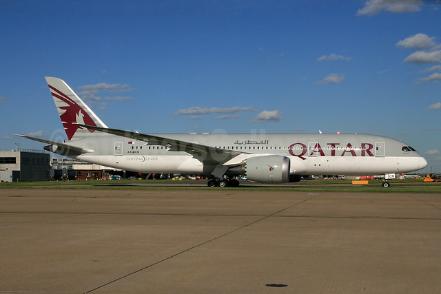 Qatar Airways Boeing 787-8 Dreamliner A7-BCN (msn 38332) LHR (SPA). Image: 927628.
