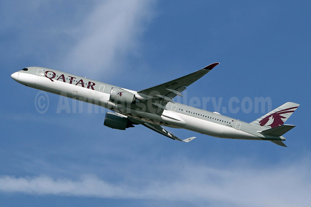 Qatar Airways Airbus A350-1041 A7-ANA (msn 088) LHR (SPA). Image: 943794.