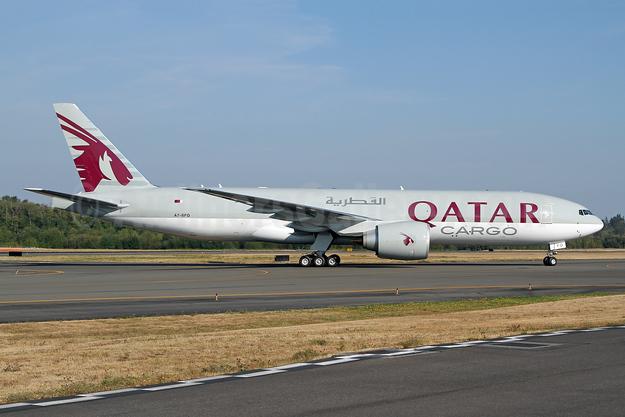 Qatar Airways Cargo Boeing 777F A7-BFO (msn 62772) PAE (Nick Dean). Image: 943451.