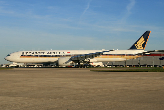 Singapore Airlines Boeing 777-312 ER 9V-SWU (msn 42235) LHR. Image: 932891.