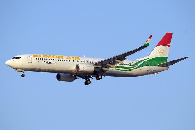 Somon Air Boeing 737-93Y ER WL P4-TAJ (msn 40888) DXB (Paul Denton). Image: 934650.